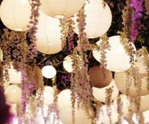 light, flowers, and lantern image