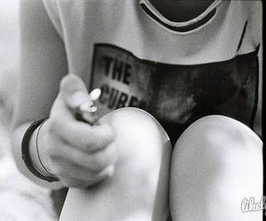 black&white, fear, and girl image