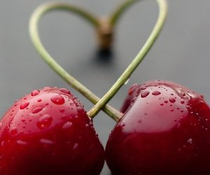 heart, cherry, and fruit image