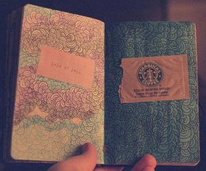 starbucks, book, and art image