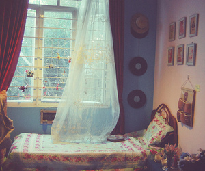 room, bed, and vintage image