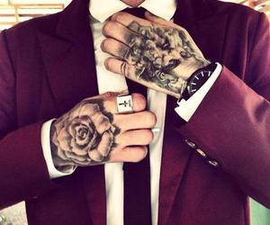 tattoo, boy, and suit image