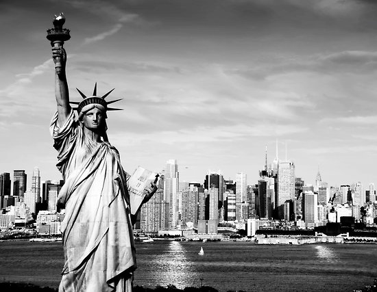 New York City Skyline In Black And White By Upthebanner Redbubble