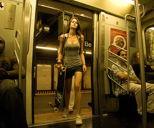 girl, skate, and subway image