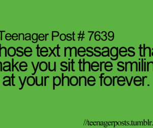 phone, smile, and text image
