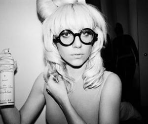 Lady gaga, glasses, and black and white image