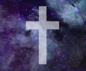 cross, galaxy, and clouds image