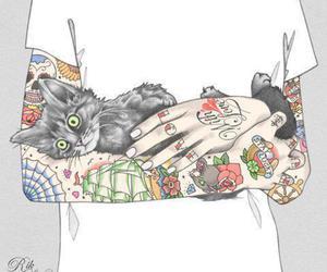 tattoo, cat, and art image