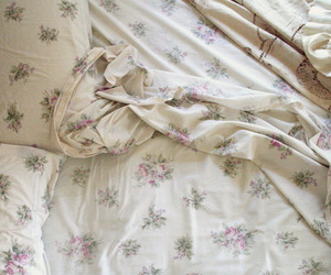 bed, floral, and pretty image