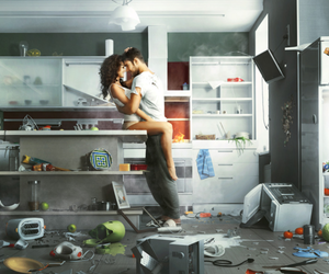 love, couple, and kitchen image