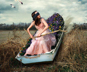 boat, flowers, and girl image