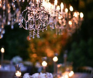 chandelier, flowers, and light image