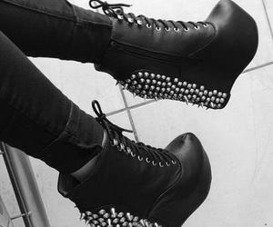 shoes, spikes, and black image