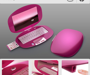 pink, computer, and laptop image