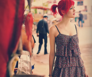 girl, red hair, and dress image