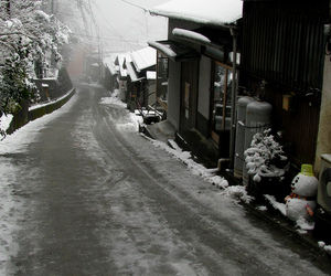 city, japan, and snow image