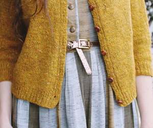 cardigan, gold, and dress image