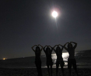 beach, moonlight, and friends image