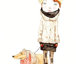 dog, girl, and illustration image