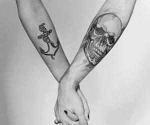 tattoo, skull, and anchor image