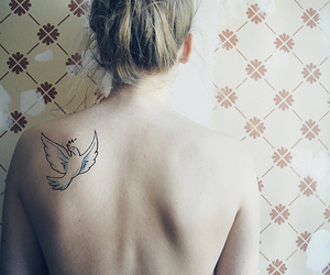 tattoo, dove, and girl image