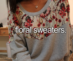 brunette, floral, and floral sweater image