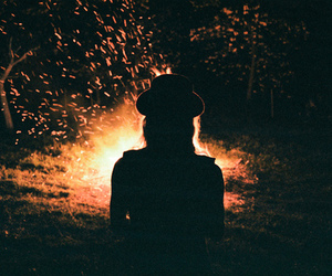 girl, fire, and night image