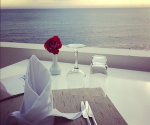 sea, romantic, and dinner image