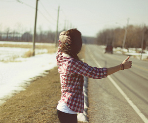 girl, road, and snow image
