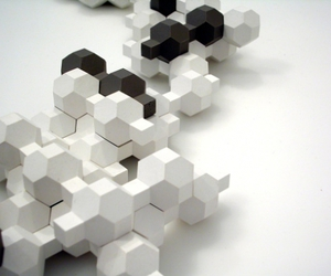 black, hexagons, and sculpture image