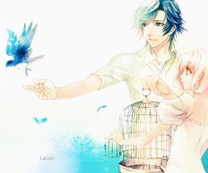 anime, couple, and bird image