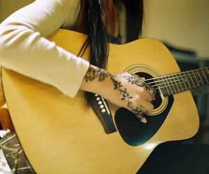 guitar, girl, and tattoo image