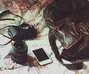 bag, camera, and iphone image