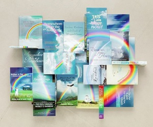 books, rainbow, and cover image