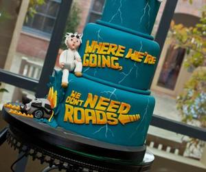 Back to the Future, wedding cake, and cute image