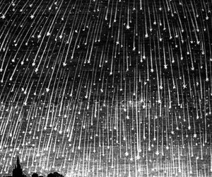 stars, meteor, and black and white image
