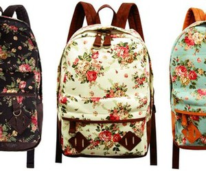 bag, backpack, and flowers image