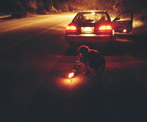 night, car, and light image