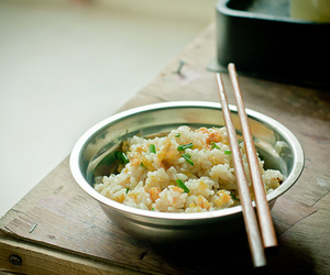 food, rice, and chopsticks image