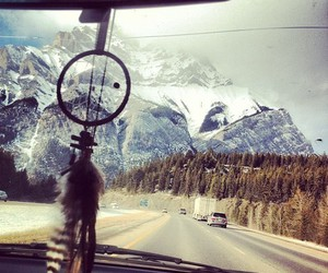 mountains, car, and dreamcatcher image