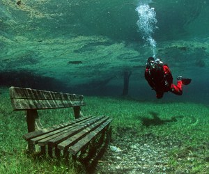 bench, submerged, and underwater image