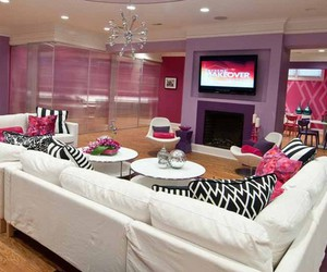 basement, purple, and living room image