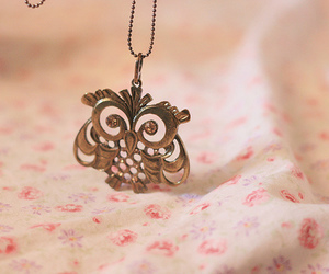 owl, necklace, and pink image
