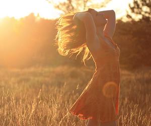 girl, sun, and dress image