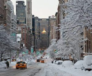 city, winter, and new york image