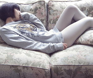 couch, fashion, and girl image