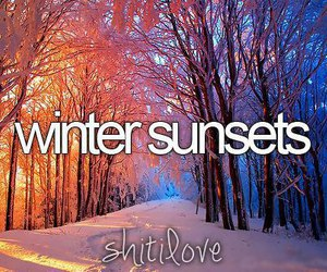 sunset, winter, and snow image