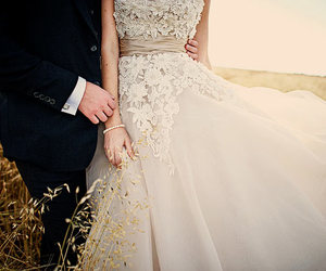 dress, wedding, and couple image