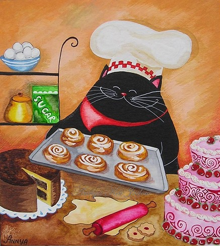 cat, chef, and drawing image