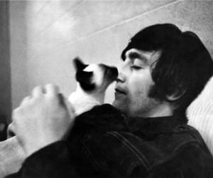 john lennon, cat, and the beatles image